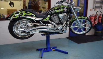Big Blue Motorcycle lift for Harley Davidson and all big cruisers