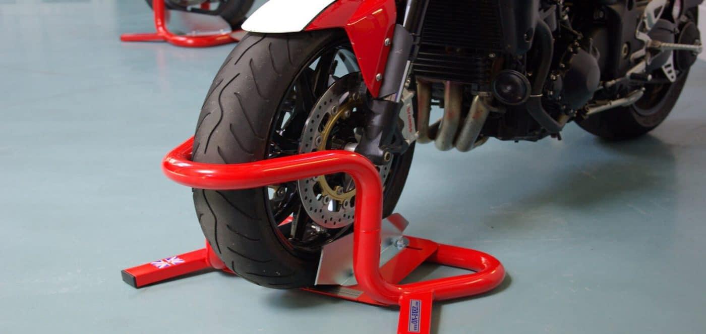 Motorcycle Wheel Chock Bikegrab Big Blue Motorcycle Lift