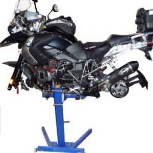 BMW Motorcycle in service workshop on Big Blue lift