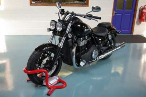 Mighty Thunderbird safe in Bikegrab Wheel Chock.