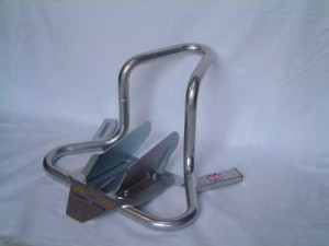 Silver Wheel chock for motorbike