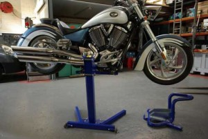 Victory Motorcycle raised on Big Blue lift
