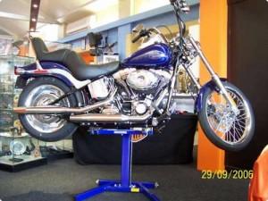 Motorcycle lift in Harley Showroom